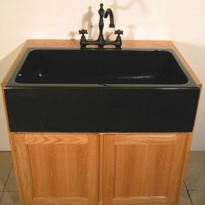 Farm Charm 33 x 19 Single Bowl Farmhouse Granite Kitchen Sink Finish: Black