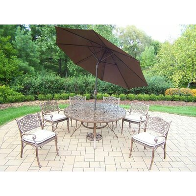 Mississippi 7 Piece Dining Set with Cushions Umbrella Color: Brown, Cushion Color: Oak Meal
