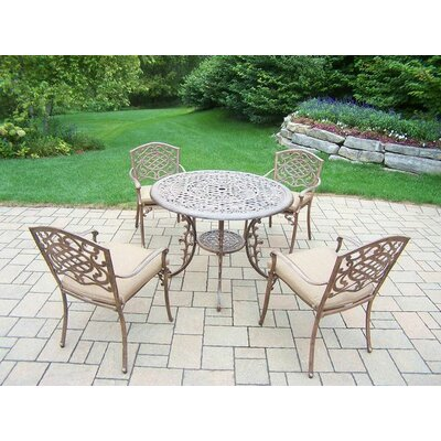 Mississippi 5 Piece Dining Set with Cushions Cushion Color: Sunbrella Spunpoly