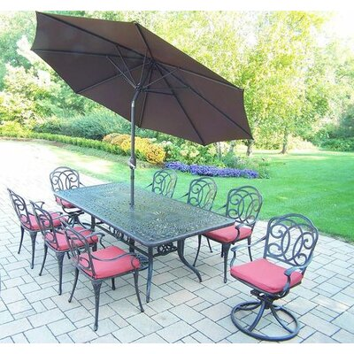 Berkley 9 Piece Dining Set with Cushions Umbrella Color: Brown