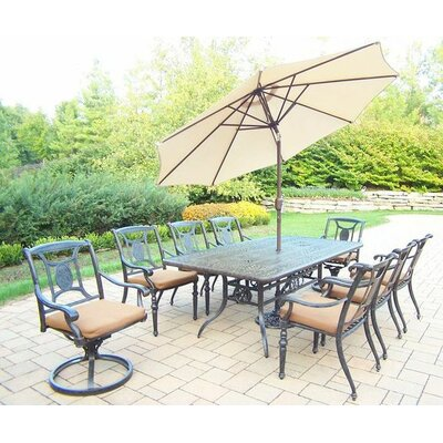 Vanguard 9 Piece Dining Set with Cushions Umbrella Color: Beige, Cushion Color: Sunbrella