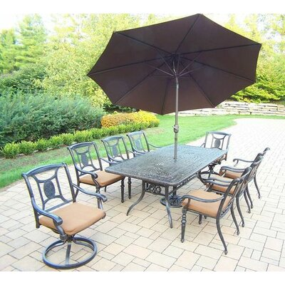 Vanguard 9 Piece Dining Set with Cushions Cushion Color: Sunbrella, Umbrella Color: Brown