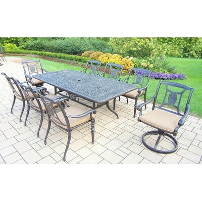 Victoria 9 Piece Dining Set with Cushions Cushion Color: Sunbrella Spunpoly