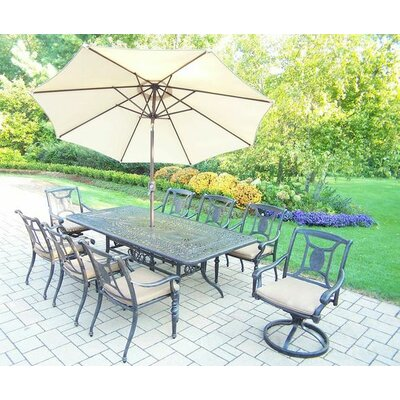 Vanguard 9 Piece Dining Set with Cushions Umbrella Color: Beige, Cushion Color: Sunbrella Spunpoly