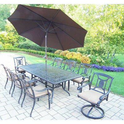Vanguard 9 Piece Dining Set with Cushions Umbrella Color: Brown, Cushion Color: Sunbrella Spunpoly