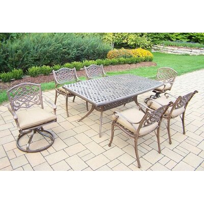 Mississippi 7 Piece Dining Set with Cushions Cushion Color: Sunbrella Spunpoly