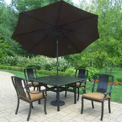 Vanguard 5 Piece Dining Set with Cushions Umbrella Color: Brown