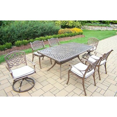 Mississippi 7 Piece Dining Set with Cushions Cushion Color: Oak Meal
