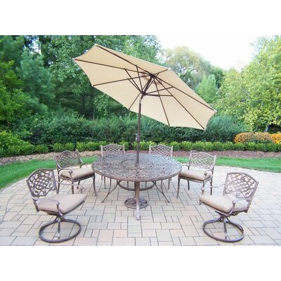 Mississippi 7 Piece Dining Set with Cushions Umbrella Color: Beige, Cushion Color: Sunbrella Spunpoly