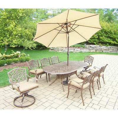 Mississippi 9 Piece Dining Set with Cushions Umbrella Color: Beige
