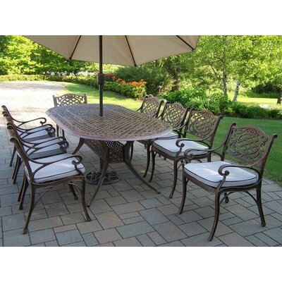 Mississippi 9 Piece Dining Set Umbrella Color: Beige
