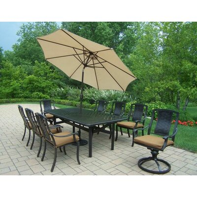 Vanguard 9 Piece Dining Set with Cushions Umbrella Color: Beige