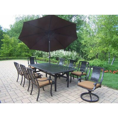 Vanguard 9 Piece Dining Set with Cushions Umbrella Color: Brown