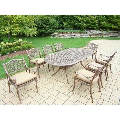 Mississippi 9 Piece Dining Set with Cushions Cushion Color: Sunbrella Spunpoly
