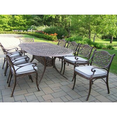 Mississippi 9 Piece Dining Set with Cushions Cushion Color: Oak Meal
