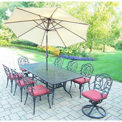 Berkley 9 Piece Dining Set with Cushions Umbrella Color: Beige