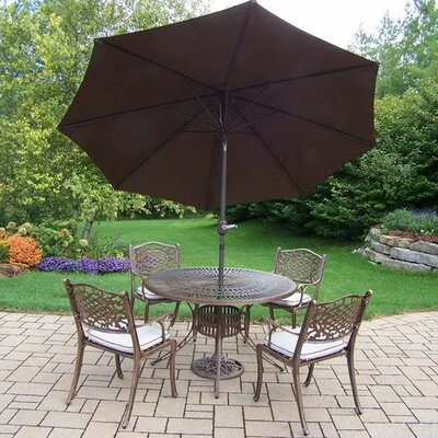 Mississippi 5 Piece Dining Set with Cushions Umbrella Color: Brown