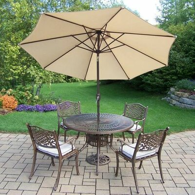 Mississippi 5 Piece Dining Set with Cushions Umbrella Color: Beige