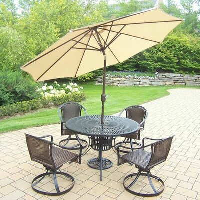 Sunray Tuscany 5 Piece Dining Set Umbrella Color: Beige