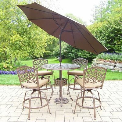 Mississippi 5 Piece Bar Set with Cushions Cushion Color: Sunbrella Spunpoly, Umbrella Color: Brown