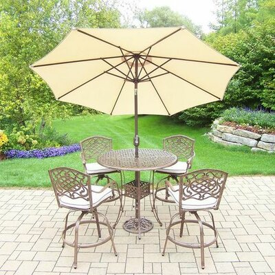 Mississippi 5 Piece Bar Set with Cushions Umbrella Color: Beige, Cushion Color: Oak Meal