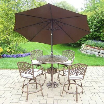 Mississippi 5 Piece Bar Set with Cushions Umbrella Color: Brown, Cushion Color: Oak Meal