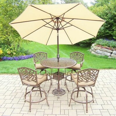Mississippi 5 Piece Bar Set with Cushions Umbrella Color: Beige, Cushion Color: Sunbrella Spunpoly
