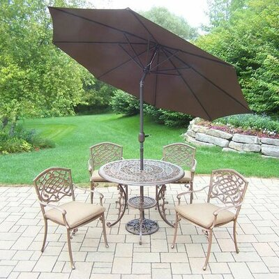 Mississippi 5 Piece Dining Set with Cushions Cushion Color: Sunbrella Spunpoly, Umbrella Color: Brown
