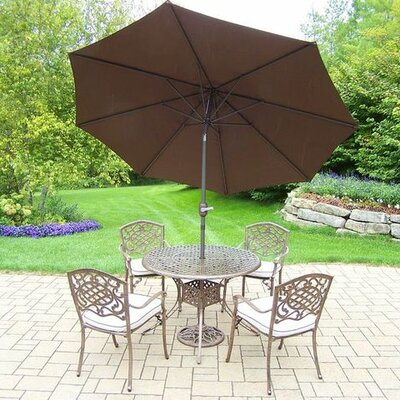 Mississippi 5 Piece Dining Set with Cushions Umbrella Color: Brown, Cushion Color: Oatmeal