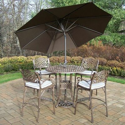 Mississippi 5 Piece Bar Set with Cushions Umbrella Color: Brown