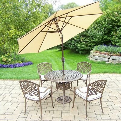 Mississippi 5 Piece Dining Set with Cushions Umbrella Color: Beige, Cushion Color: Oatmeal