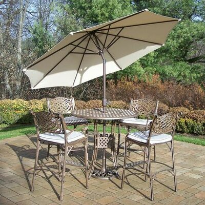 Mississippi 5 Piece Bar Set with Cushions Umbrella Color: Beige