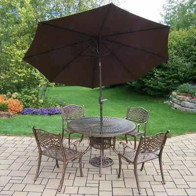 Mississippi 5 Piece Dining Set Umbrella Color: Brown
