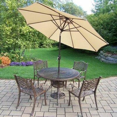 Mississippi 5 Piece Dining Set Umbrella Color: Beige