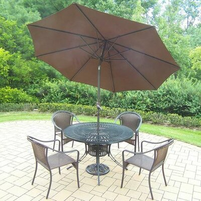 Sunray Tuscany 5 Piece Dining Set Umbrella Color: Brown