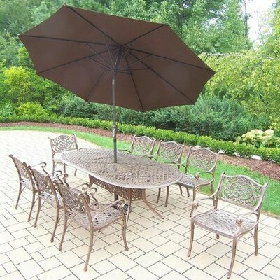 Mississippi 9 Piece Dining Set Umbrella Color: Brown