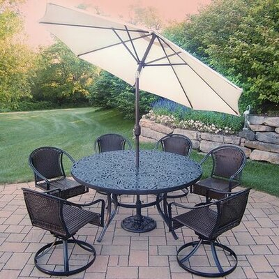 Tuscany 7 Piece Dining Set Umbrella Color: Beige