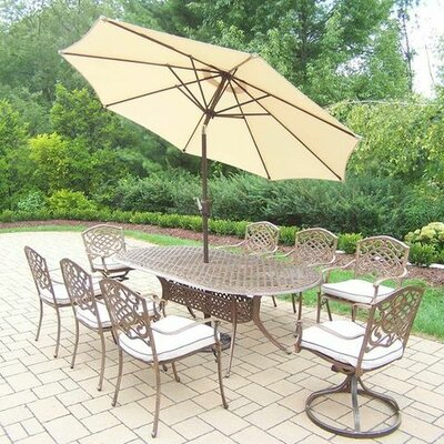 Mississippi 9 Piece Dining Set with Cushions Umbrella Color: Beige, Cushion Color: Oak Meal