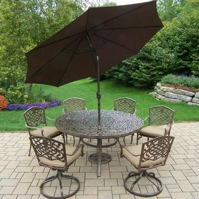Mississippi 7 Piece Dining Set with Cushions Cushion Color: Sunbrella Spunpoly, Umbrella Color: Brown