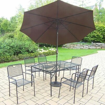 Charleston 7 Piece Dining Set Umbrella Color: Brown