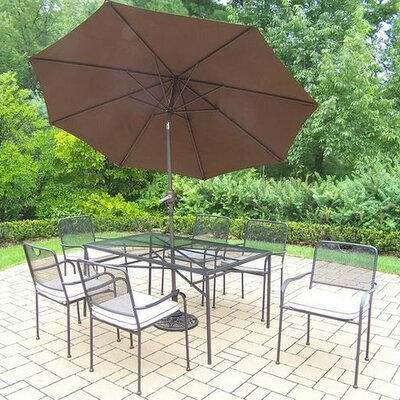 Charleston 7 Piece Dining Set with Cushions Umbrella Color: Brown