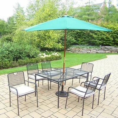 Charleston 7 Piece Dining Set with Cushions Umbrella Color: Green