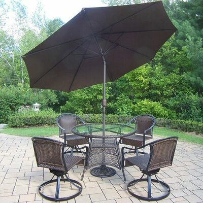 Tuscany 7 Piece Dining Set Umbrella Color: Brown