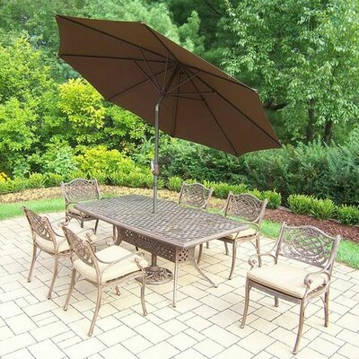 Mississippi 7 Piece Dining Set with Cushions Umbrella Color: Brown, Cushion Color: Sunbrella Spunpoly