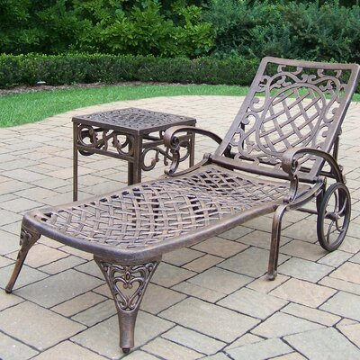 Mississippi Chaise Lounge with End Table Finish: Antique Bronze