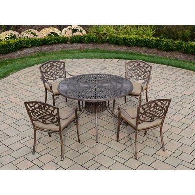 Sunray Mississippi 5 Piece Dining Set with Cushions Cushion Fabric: Standard - Tan