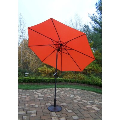 9 Market Umbrella Base Finish: Black, Color: Orange