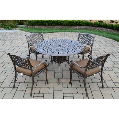 Capitol 5 Piece Dining Set with Cushions Cushion Fabric: Sunbrella - Tan