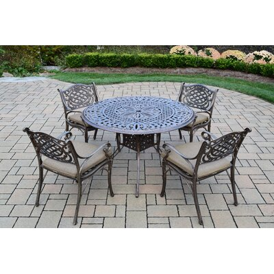 Capitol 5 Piece Dining Set with Cushions Cushion Fabric: Standard - Tan