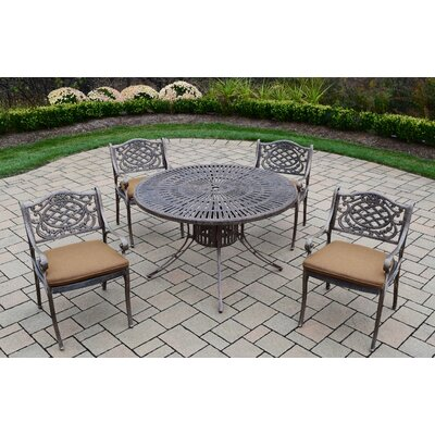 Sunray Mississippi 5 Piece Dining Set with Cushions Cushion Fabric: Sunbrella - Tan